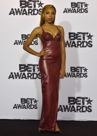 dress gown maxi dress prom dress faux leather burgundy lil mama bet awards