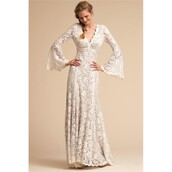 dress,spring,necklace,ivory dress,long sleeves,sweep train