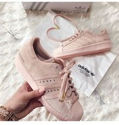 shoes,adidas shoes,adidas,adidas superstars,blush pink,baby pink,instagram,beige,rose,sports shoes,sporty,elegant,pink adidas sneaker,low top sneakers,adidas supercolor,suede sneakers,pink sneakers