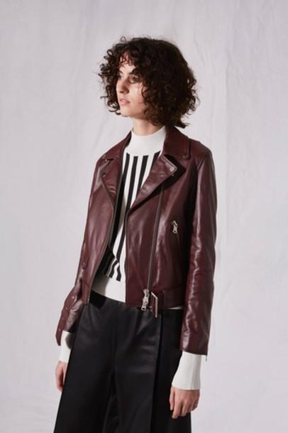 Topshop jacket biker jacket burgundy