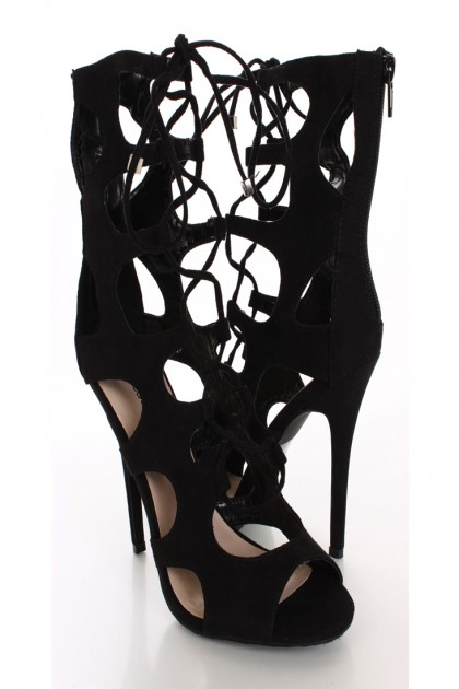Black faux suede lace up heels / sexy clubwear