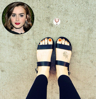 lily collins sandals flats greek sandals