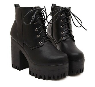 shoes lace up black trendy faux leather fashionable lace-up and black design women's short boots cool fashion style grunge platform shoes