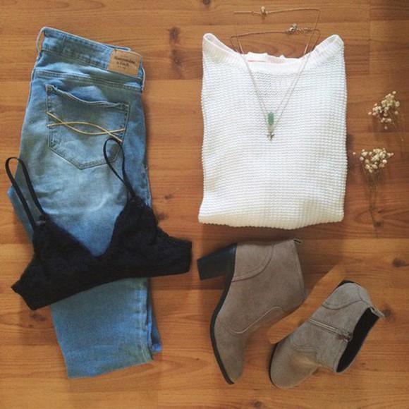 jewels bra sweater underwear