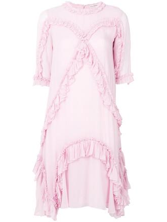 dress shift dress pleated women silk purple pink