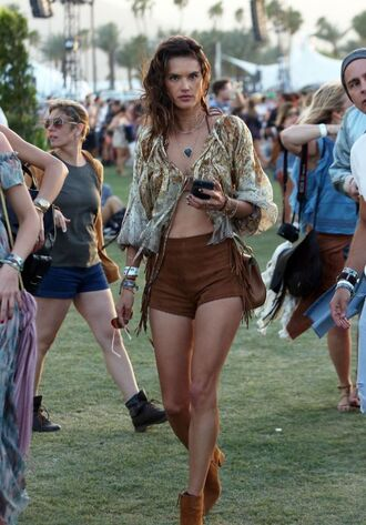 shorts top suede boots suede alessandra ambrosio model off-duty coachella blouse shoes suede shorts