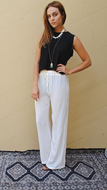 Pants: white pants, harem pants, black top, black, black tank top ...