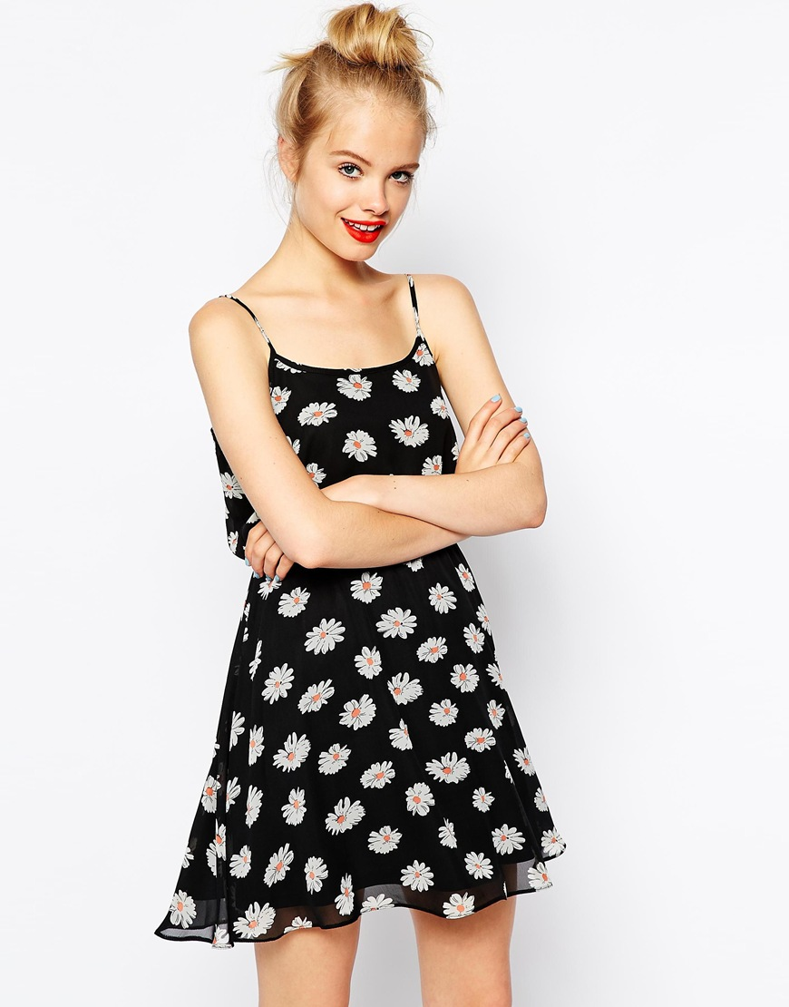 ASOS Cami Skater Dress In Daisy Print at asos.com