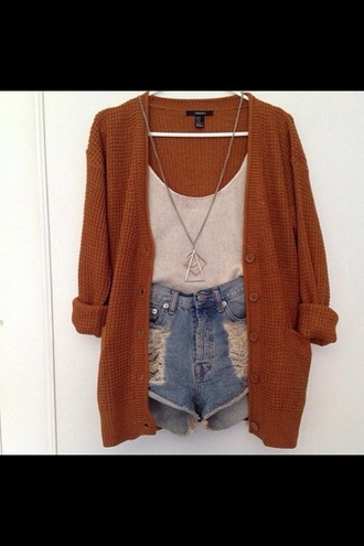 tank top orange white demin shorts cardigan shirt shorts jewels sweater