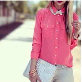 shirt chemise rose col claudine