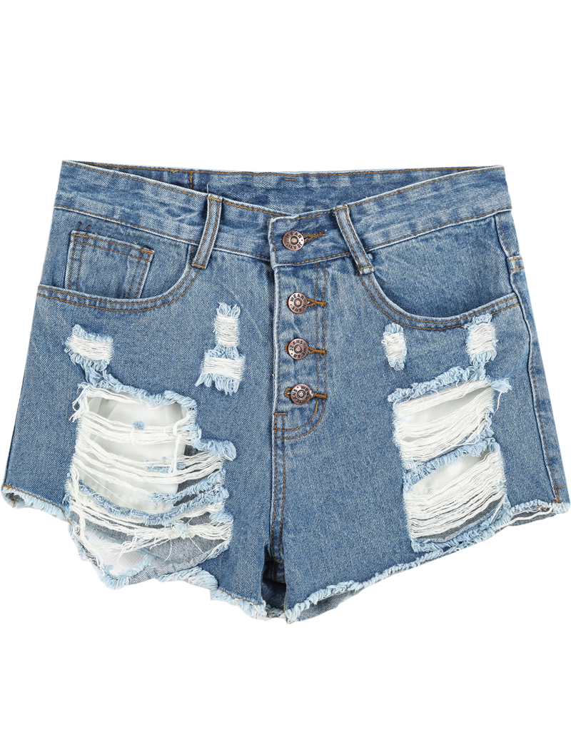 Blue High Waist Ripped Denim Shorts - Sheinside.com
