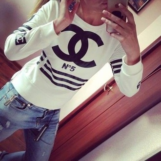 sweater white sweatshirt black and white chanel jersey sporty trendy edgy hipster tumblr chic classy girly feminine stylish fashion beautiful top black black top instagram stripes logo chanel logo dope white sweater jersey tee hipster sweater style black sweater striped sweater striped top chanel sweater jeans
