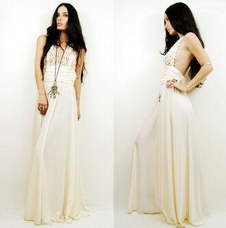 vintage white crochet maxi dress dress