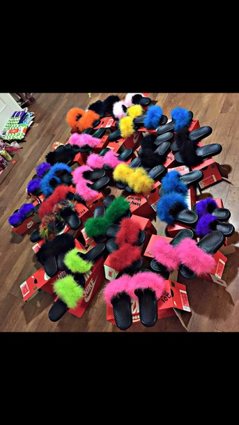 26c5ffbd110401 shoes slippers nike fur slippers flats fur faux fur pink blue yellow black  purple green