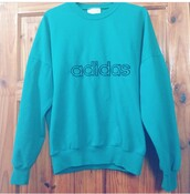 sweater,adidas,sweatshirt,teal,blue shirt,turquoise,jumper,baby blue,indigo