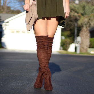 shoes brown suede thigh highs boots brown thigh high boots olive green green cardigan beige cream western fringes winter outfits fall outfits 2016 forest green handbag