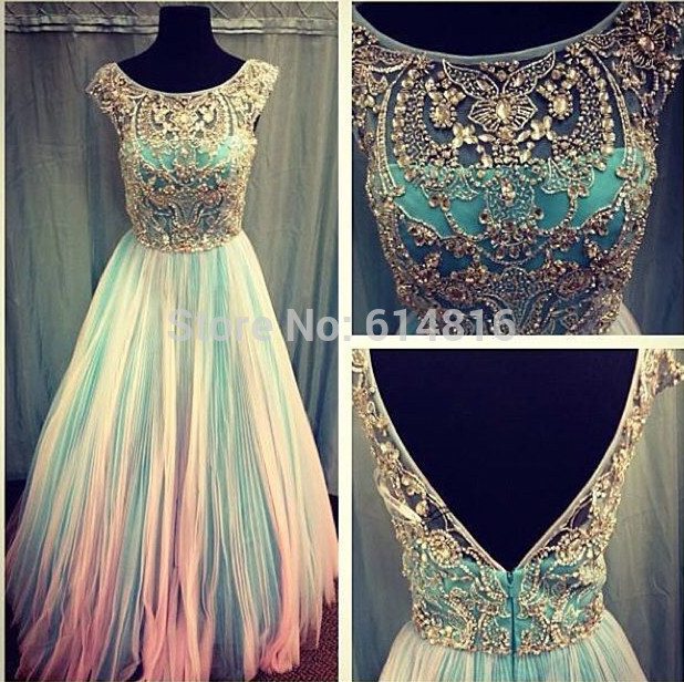 Aliexpress.com : Buy Romantic Scoop Neck Short Cap Sleeve Crystals Beaded Bodice A line Flowing Chiffon Prom Dresses V Line Back from Reliable dress for dance competition suppliers on Suzhou Babyonlinedress Co.,Ltd