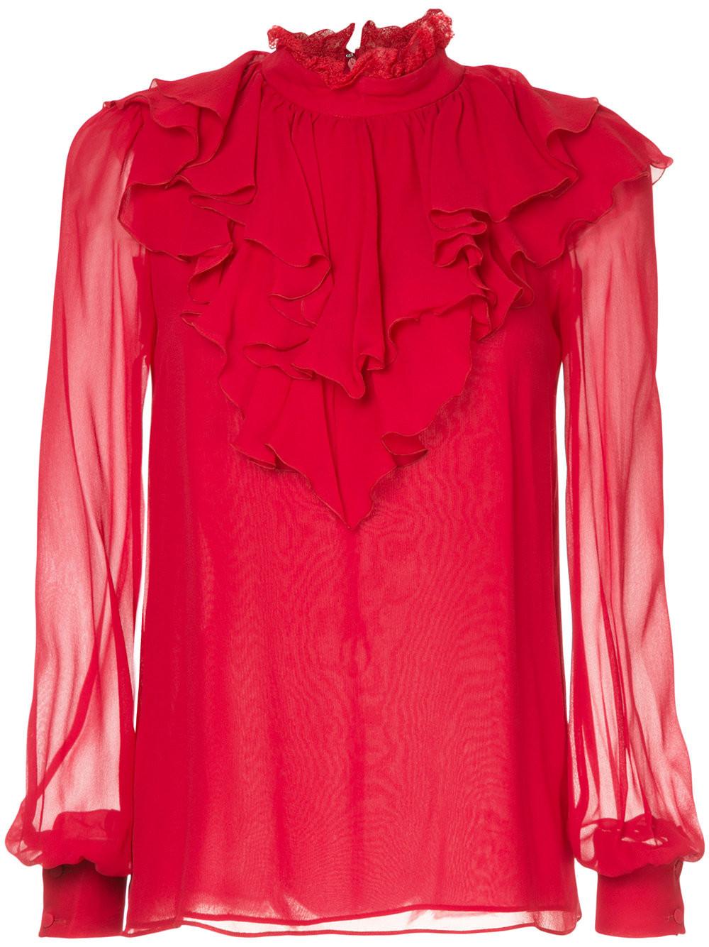 Шелковая Блузка Купить Красная