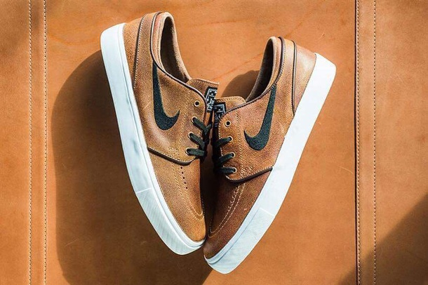 shoes nike shoes leather shoes black tick brown white black janoski's