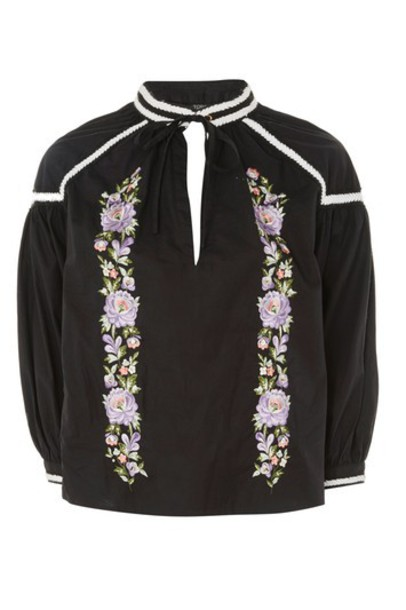 Topshop top embroidered black