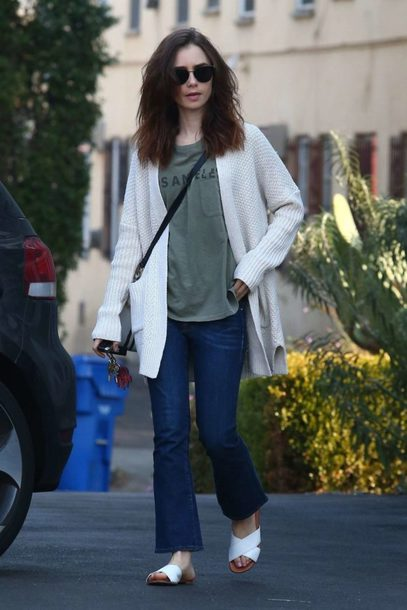 cardigan jeans lily collins top fall outfits streetstyle