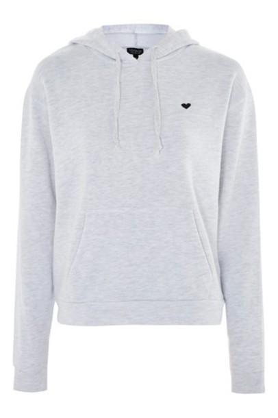 Topshop hoodie heart silver sweater