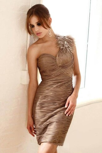 dress powerful brown one shoulder backless inexpensive cocktail dress with feathers online