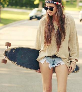 american flag hipster sunglasses bandana print hairstyles cardigan hippie skater girl gorgeous trend tribal pattern