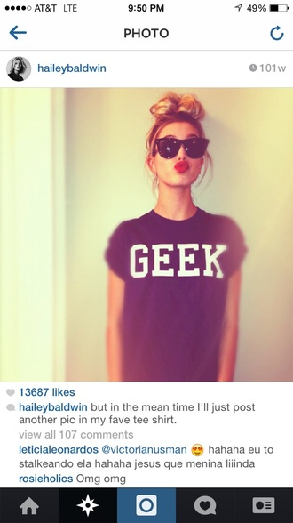 blouse geek tee geek hailey baldwin celebrity black t-shirt