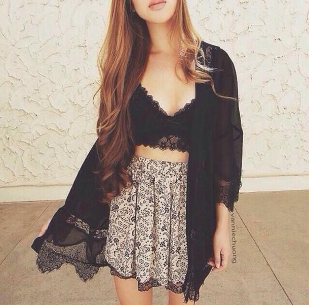 blouse black kimono lace bralette skirt summer summer outfits spring spring style spring outfits summer outfits cardigan socks