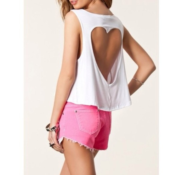 shirt tank top t-shirt white has a heart in the back