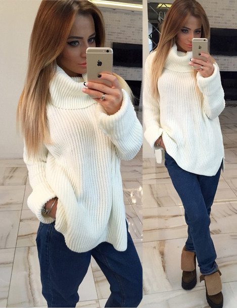 Sweater: oversized turtleneck sweater, off-white sweater, knitted ...