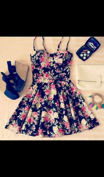 bracelets wedges bag jewels summer dress cute outfit