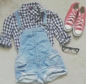 overalls,denim,converse,checkered,blouse,romper
