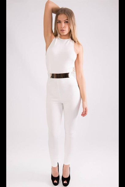 8515edc8008 white jumpsuit gold belt jumpsuit dress