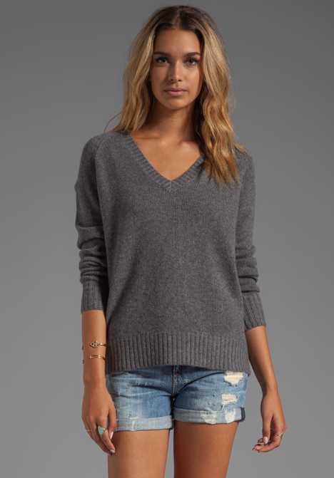 360 SWEATER Luci Cashmere Sweater in Heather Grey - 360 Sweater