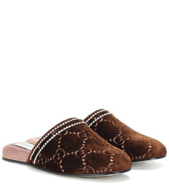 embellished slippers velvet brown shoes