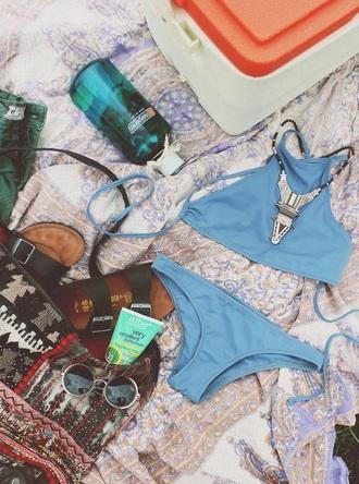 swimwear bandeau swimsuit blue swimwear