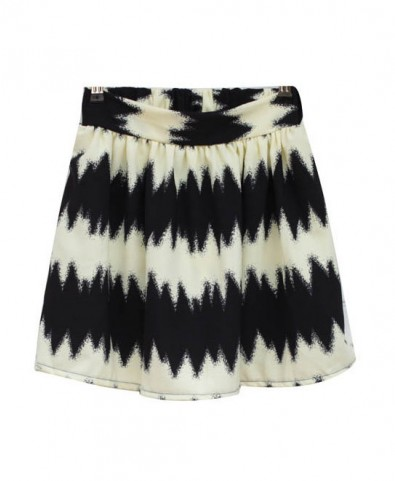 Black and Beige Zig Zag Print Skirt