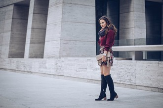 live more beautifully blogger sweater scarf skirt shoes bag jewels knee high boots winter outfits clutch mini skirt burgundy sweater boots