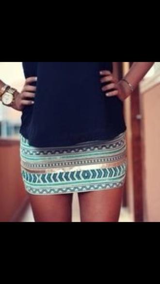 skirt miniskirt blue skirt aztec tribal pattern