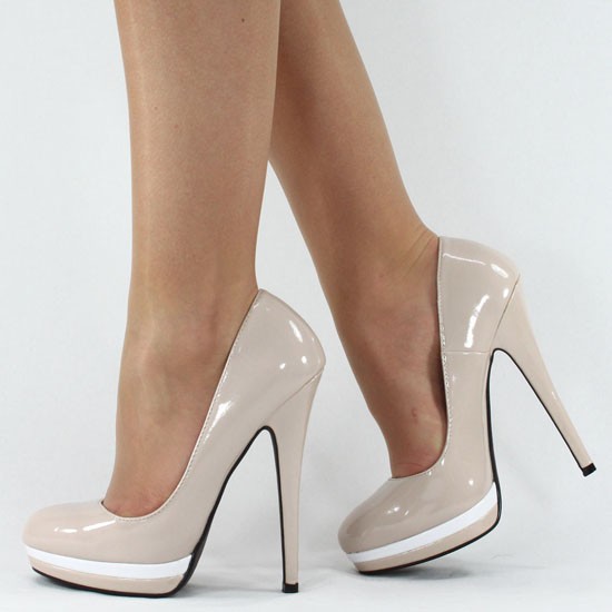 5 CM HIGH HEELS PLATEAU STILETTO LACK PUMPS CREME BEIGE B4924 ...