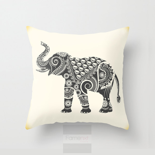 Elephant Throw Pillow Case : Elephant Throw Pillow. Decorative Mandala Pillow Cover. 18 inch. Double sided Print