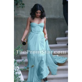 Vanessa Hudgens Light Blue Strapless Prom Dress Formal Gowns