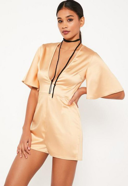Missguided Nude Wide Sleeve Plunge Satin Romper