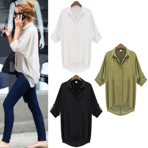 Women Chiffon Long Sleeve Shirt Casual Top Turn-down Collar Loose Blouse | eBay