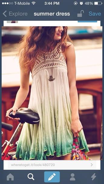 dress cute dress summer blue tan ombre dress