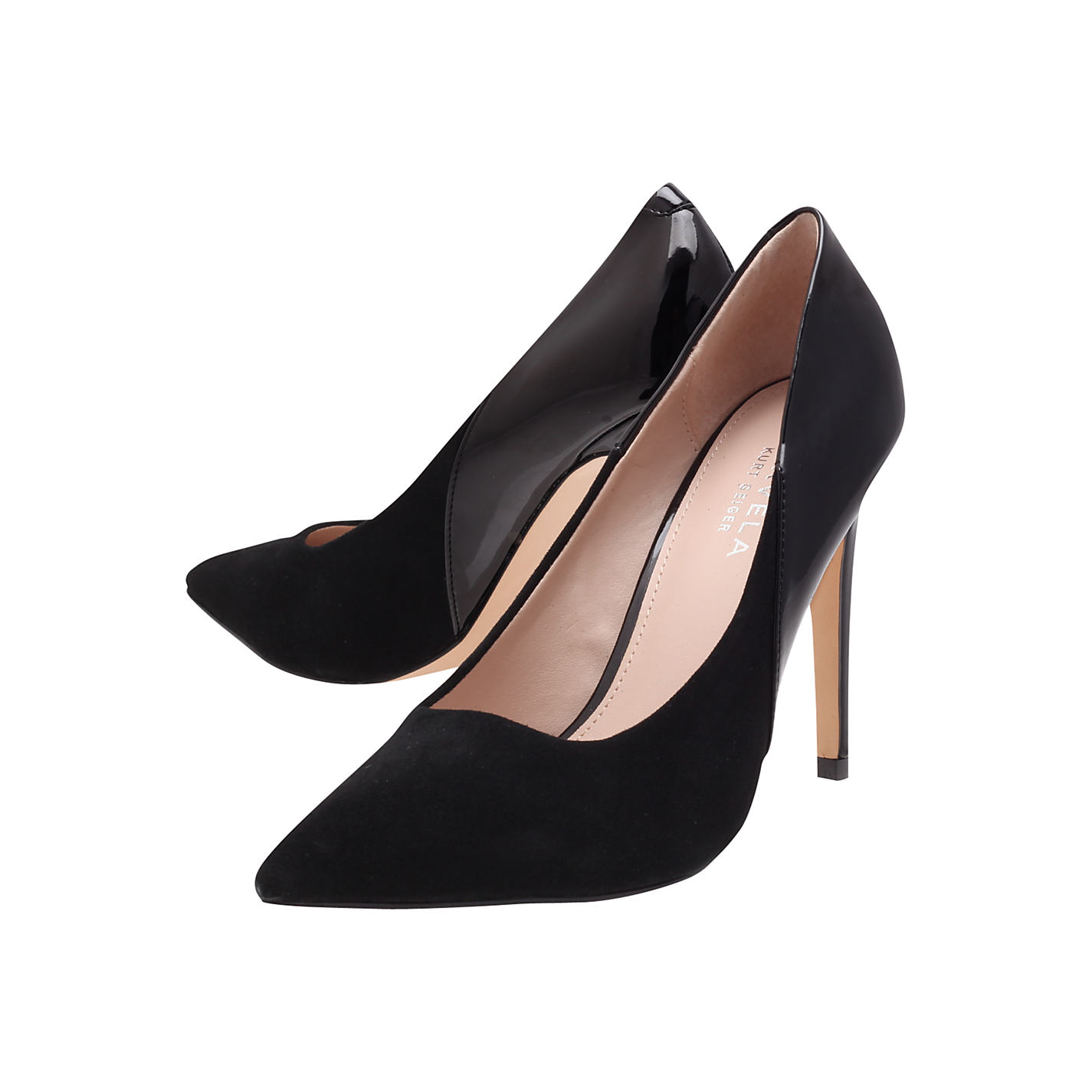 Buy carvela ash suede mix pointed toe stiletto heel court shoes, black