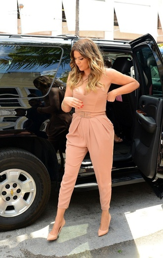 dress t-shirt jumpsuit khloe kardashian nude peach dress
