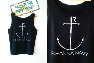 top navy anchor rihanna girl summer hot fashion black pretty white cute fashionista black and white